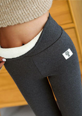 Winter Thickened Warm Fleece Lined High Waist Leggings - Dark Grey