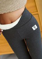 Winter Thickened Warm Fleece Lined High Waist Leggings - Dark Grey