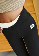 Winter Thickened Warm Fleece Lined High Waist Leggings - Black