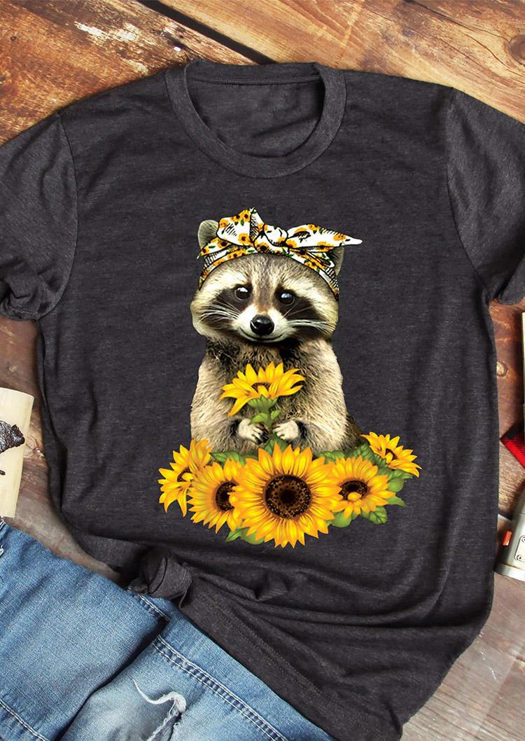 Sunflower Raccoon O-Neck T-Shirt Tee - Dark Grey