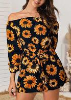 Sunflower Pocket OffShoulder Elastic Cuff Romper - Black
