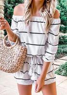 Striped Drawstring Long Sleeve Off Shoulder Romper - White