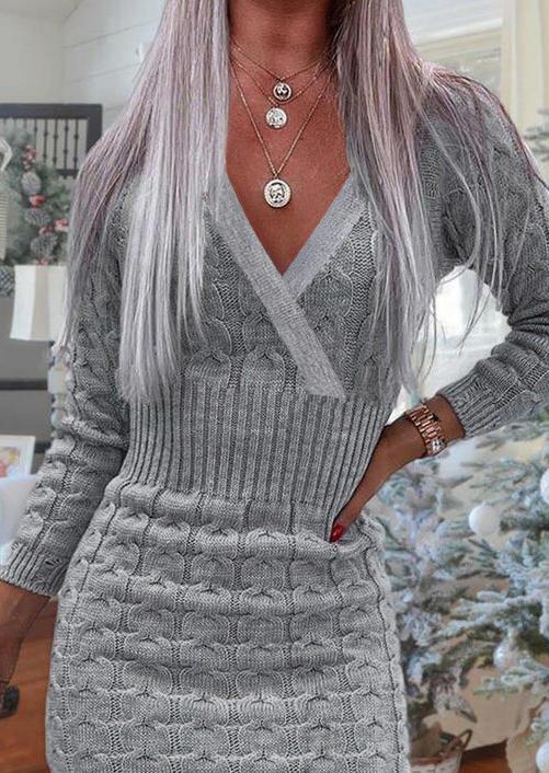Crochet Knitted V-Neck Long Sleeve Mini Dress - Gray