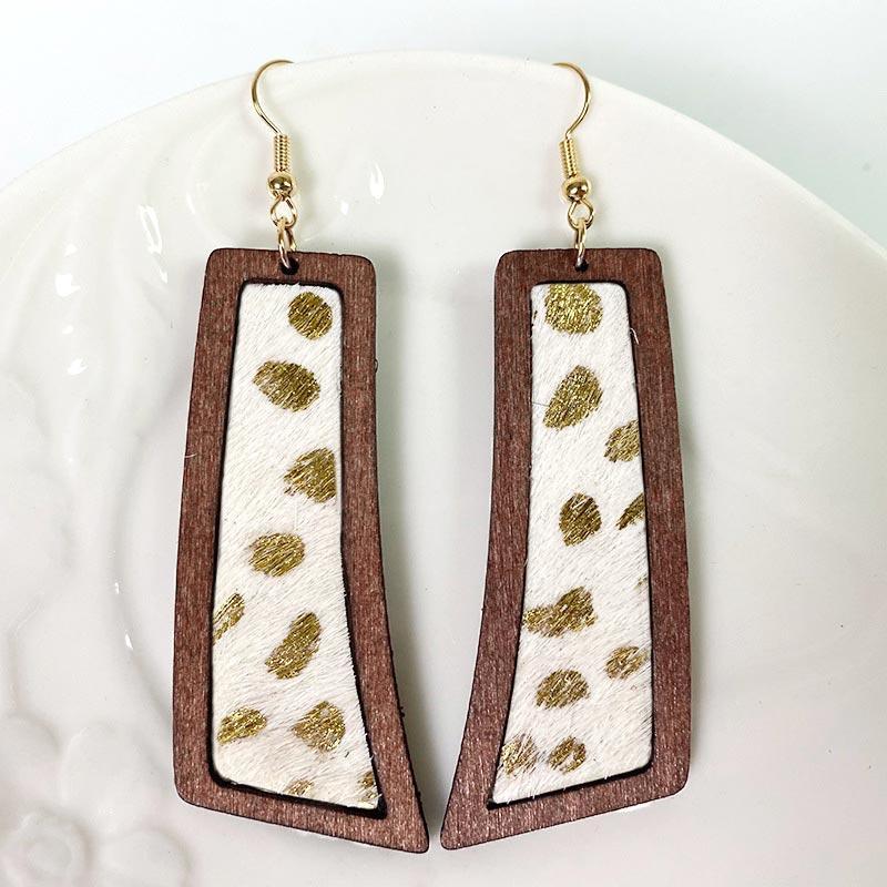 Bohemian Cow Geometric Wooden Pendant Earrings