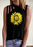 Sunflower Hollow Out Casual Tank - Black