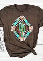 Cow Geometric Cactus Turquoise T-Shirt Tee - Coffee