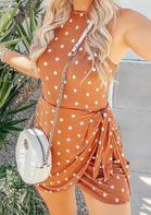 Polka Dot Ruffled Tie Halter Bodycon Dress - Orange