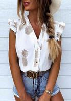 Pineapple Ruffled Button Cap Sleeve V-Neck Blouse - White