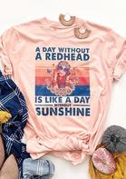 Retro Redhead O-Neck T-Shirt Tee - Pink
