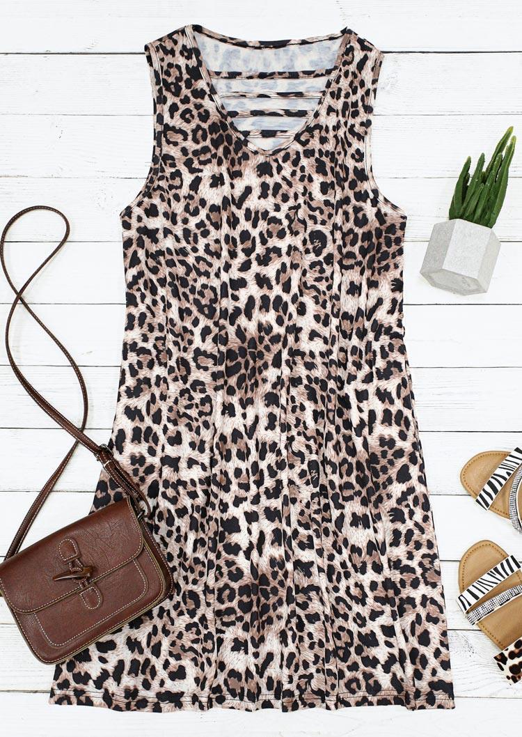 Leopard Hollow Out Sleeveless V-Neck Mini Dress