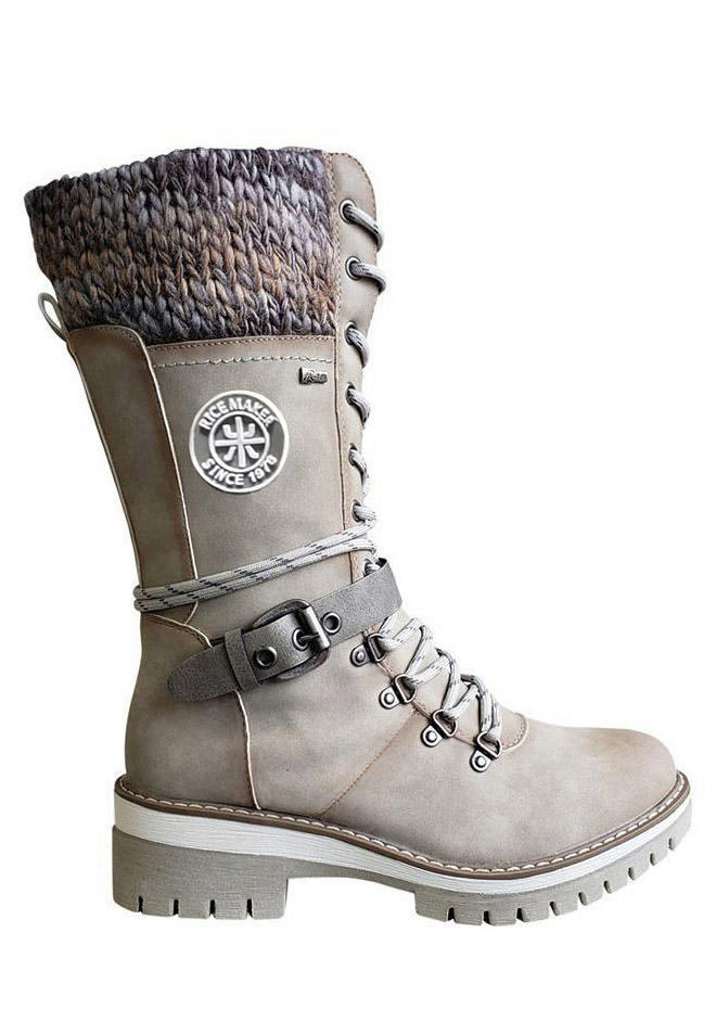 Buckle Strap Lace Up Knitted Zipper Mid-Calf Boots - Beige