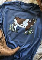 Highland Cow Cactus O-Neck T-Shirt Tee - Blue