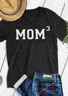 Mom 3 V-Neck T-Shirt Tee - Black
