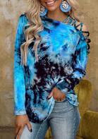 Tie Dye Criss-Cross Slash Neck Long Sleeve Blouse - Blue