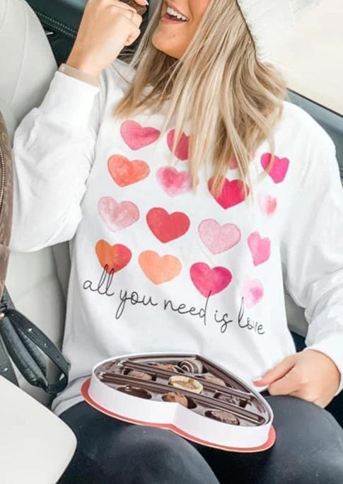 Valentine Heart All You Need Is Love Pullover Sweatshirt - White
