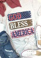 God Bless America Leopard T-Shirt Tee - Light Grey
