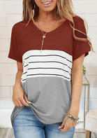 Color Block Splicing Striped T-Shirt Tee