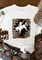 Western Cowboy Horse Leopard T-Shirt Tee - White