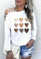Be Kind Heart Criss-Cross Slash Neck Blouse - White