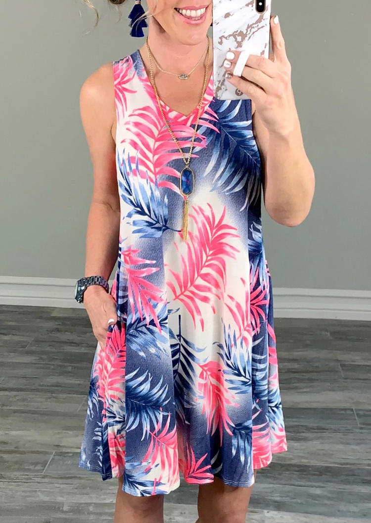 Colorful Palm Leaf Pocket Sleeveless Mini Dress