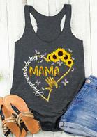 Happiness Is Being A Mama Sunflower Love Heart Tank - Dark Grey