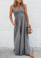Ruffled High Waist Pocket Wide Legs Jumpsuit - Light Grey