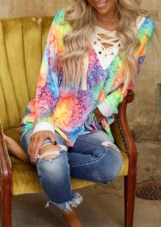 Tie Dye Lace Up V-Neck Long Sleeve Sweatshirt