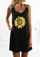 Sunflower Hollow Out Spaghetti Strap Mini Dress - Black