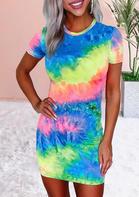 Tie Dye O-Neck Bodycon Dress