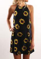 Sunflower Sleeveless Mini Dress - Black