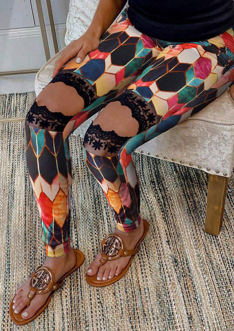 Colorful Geometric Lace Splicing Hollow Out Skinny Pants