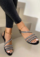 Rhinestone Slip On Flat Sandals without Anklet
