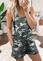 Camouflage Pocket Drawstring Casual Romper