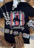 Rope & Ride Cowboy Serape Striped Leopard T-Shirt Tee - Black