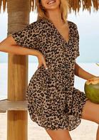 Leopard Pocket Button Ruffled V-Neck Cover Up