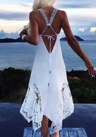 Lace Splicing Open Back Casual Dress - White