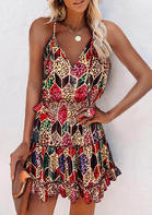 Leopard Rhombus Elastic Smocked Waist Spaghetti Strap Mini Dress