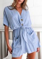 Pocket Button Tie Elastic Waist V-Neck Romper - Light Blue