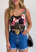 Floral Tie Lace Splicing Casual Tank