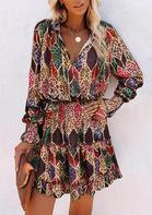 Colorful Leopard Rhombus Long Sleeve Mini Dress