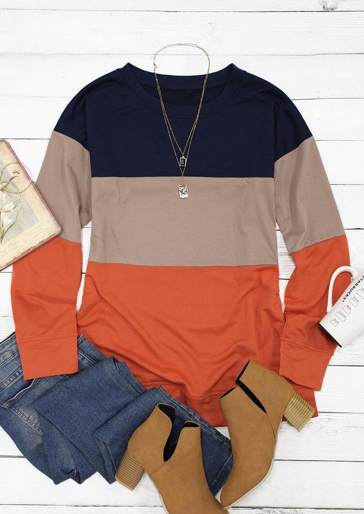 Color Block Long Sleeve O-Neck Pullover Sweatshirt