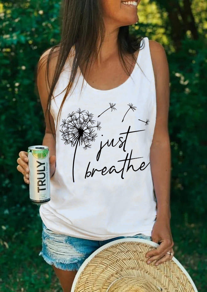 Just Breathe Dandelion Tank - White