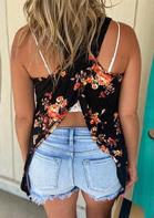 Floral Open Back Casual Tank - Black