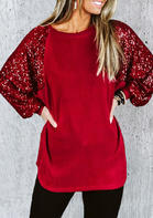 Sequined Splicing Raglan Long Sleeve Blouse - Red
