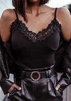 Lace Splicing V-Neck Camisole - Black