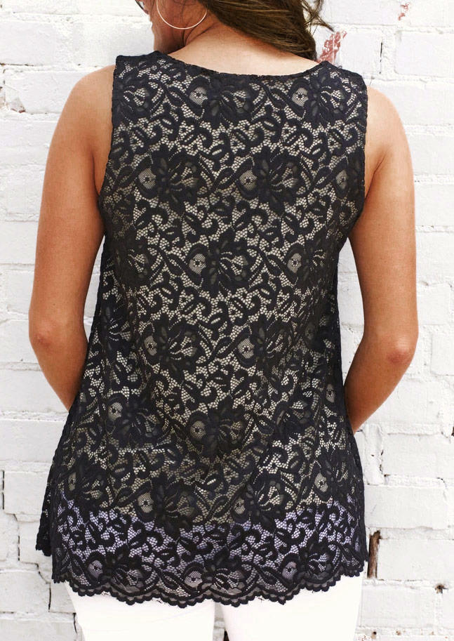 Lace Hollow Out Criss-Cross V-Neck Tank - Black