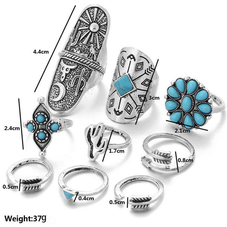 9Pcs Bohemia Turquoise Vintage Ring