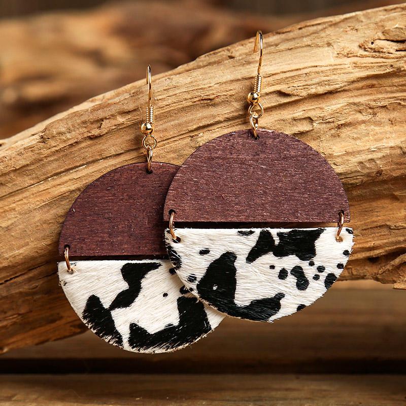 Cow Leopard Splicing Round Pendant Earrings, 497322, Fairyseason, Pattern1, Pattern2  - buy with discount