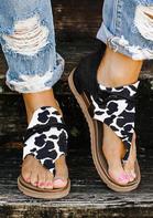 Women's Summer Cow Zipper Flat Sandals - Black