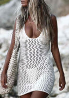 Hollow Out Open Back Tie Crochet Cover Up - White